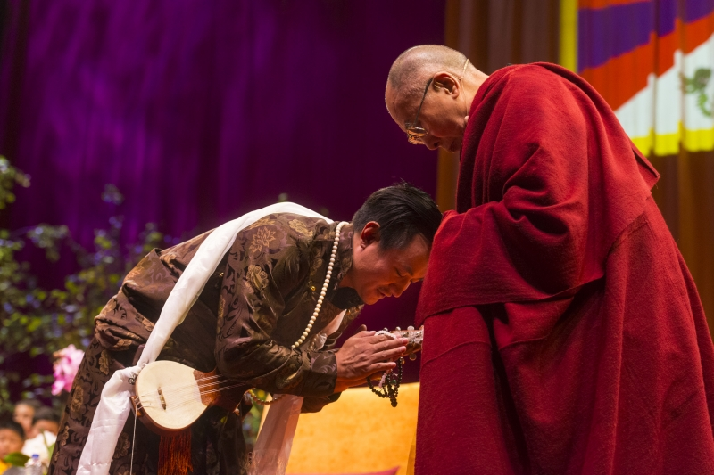 Dalai Lama with Ngawang Lodup at the O2 Arena, London
