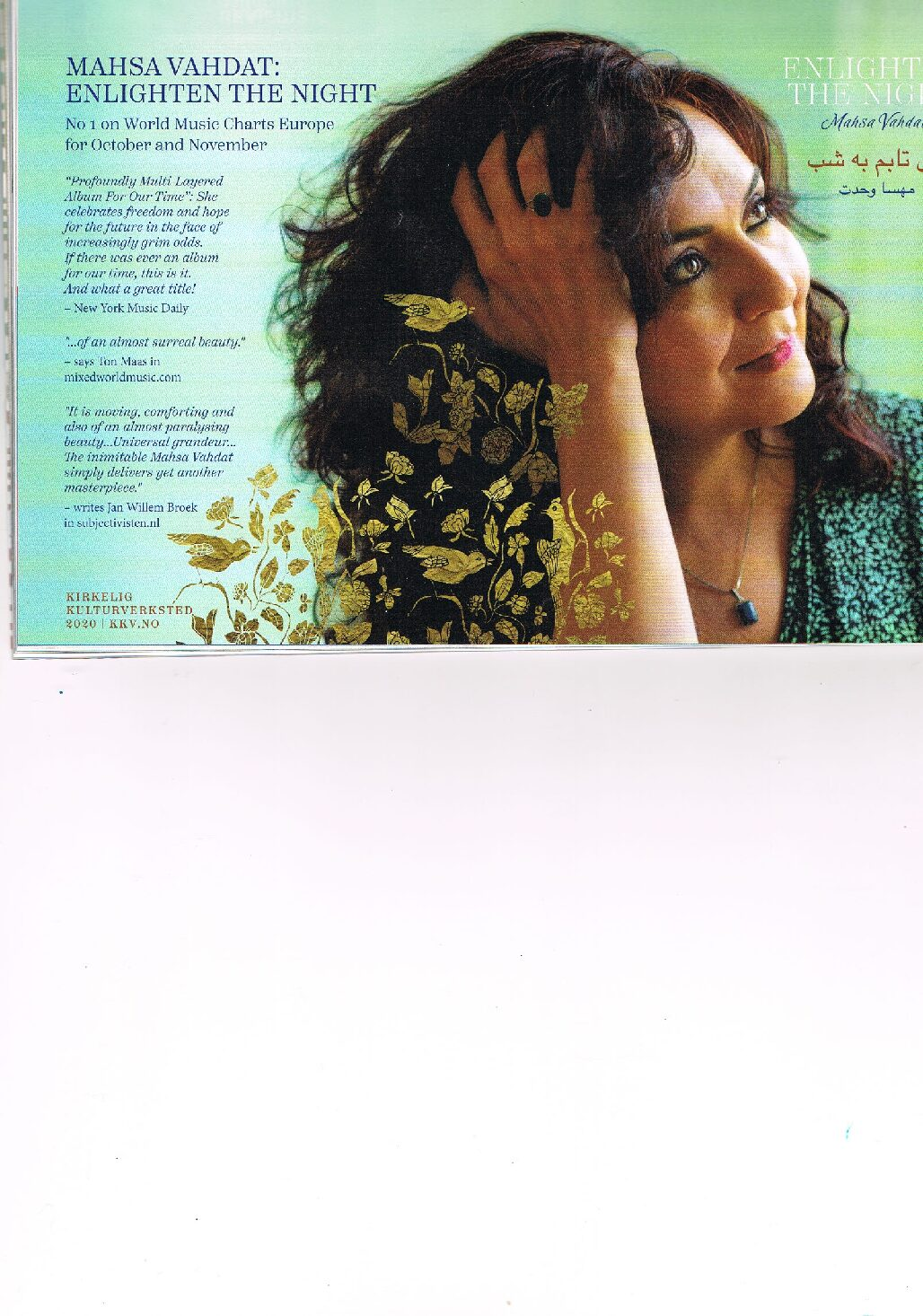 Mahsa Vahdat – No 1 on Europe's World Music Charts.